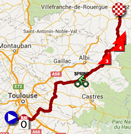 The map with the race route of the thirteenth stage of the Tour de France 2015 on Google Maps
