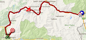 The map with the race route of the twentieth stage of the Tour de France 2015 on Google Maps