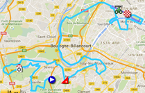 The map with the race route of the twenty-first stage of the Tour de France 2015 on Google Maps