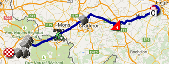 The map with the race route of the fourth stage of the Tour de France 2015 on Google Maps