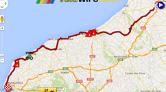 The map with the race route of the sixth stage of the Tour de France 2015 on Google Maps