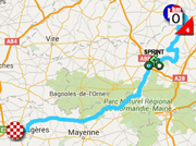 The map with the race route of the seventh stage of the Tour de France 2015 on Google Maps