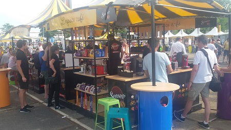 Le stand de Senseo au Village Départ à Utrecht