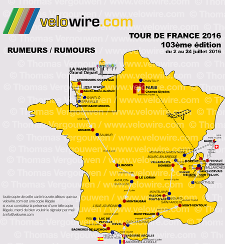 The detailed map of the Tour de France 2016 race route based on rumours