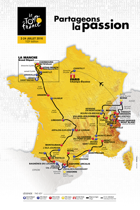 The map of the Tour de France 2016