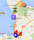 The map with the race route of the first stage of the Tour de France 2016 on Google Maps