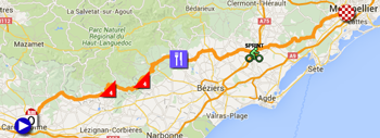 The map with the race route of the eleventh stage of the Tour de France 2016 on Google Maps
