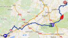 The map with the race route of the twelfth stage of the Tour de France 2016 on Google Maps