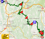 The map with the race route of the fifteenth stage of the Tour de France 2016 on Google Maps