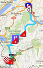 The map with the race route of the seventeenth stage of the Tour de France 2016 on Google Maps
