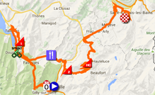 The map with the race route of the nineteenth stage of the Tour de France 2016 on Google Maps