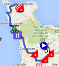 The map with the race route of the second stage of the Tour de France 2016 on Google Maps