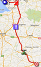 The map with the race route of the third stage of the Tour de France 2016 on Google Maps