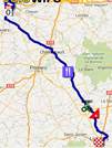 The map with the race route of the fourth stage of the Tour de France 2016 on Google Maps