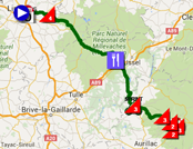 The map with the race route of the fifth stage of the Tour de France 2016 on Google Maps