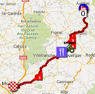 The map with the race route of the sixth stage of the Tour de France 2016 on Google Maps