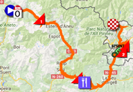The map with the race route of the ninth stage of the Tour de France 2016 on Google Maps