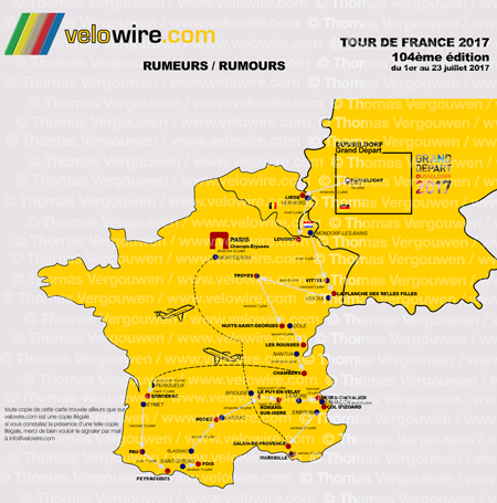 The detailed map of the Tour de France 2017 race route based on rumours