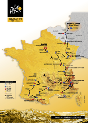 La carte officielle du Tour de France 2017