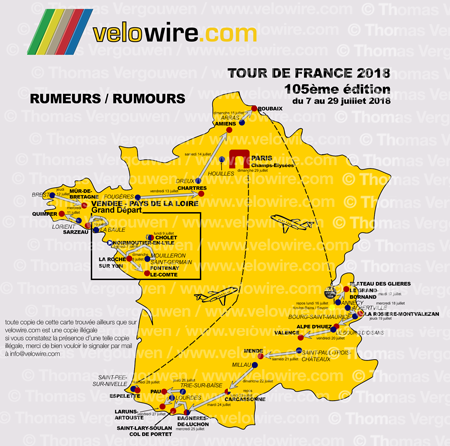 The detailed map of the Tour de France 2018 race route based on rumours