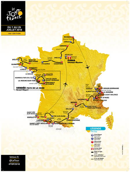 The official map of the Tour de France 2018