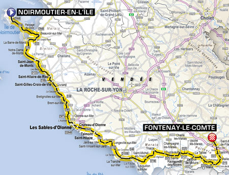 The map of the first stage of the Tour de France 2018