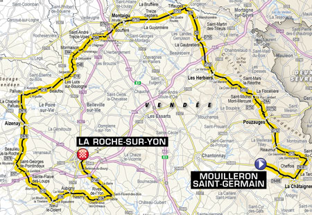 The map of the second stage of the Tour de France 2018