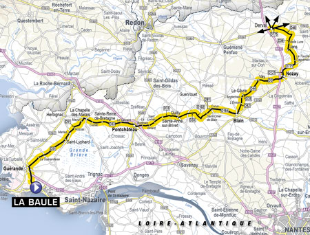 The map with the start of the fourth stage of the Tour de France 2018