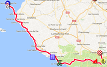 The map with the race route of the first stage of the Tour de France 2018 on Google Maps