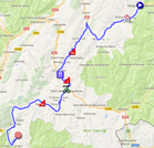 The map with the race route of the twelfth stage of the Tour de France 2018 on Google Maps