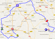 The map with the race route of the second stage of the Tour de France 2018 on Google Maps
