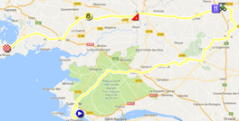 The map with the race route of the fourth stage of the Tour de France 2018 on Google Maps