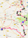 The map with the race route of the nineth stage of the Tour de France 2018 on Google Maps