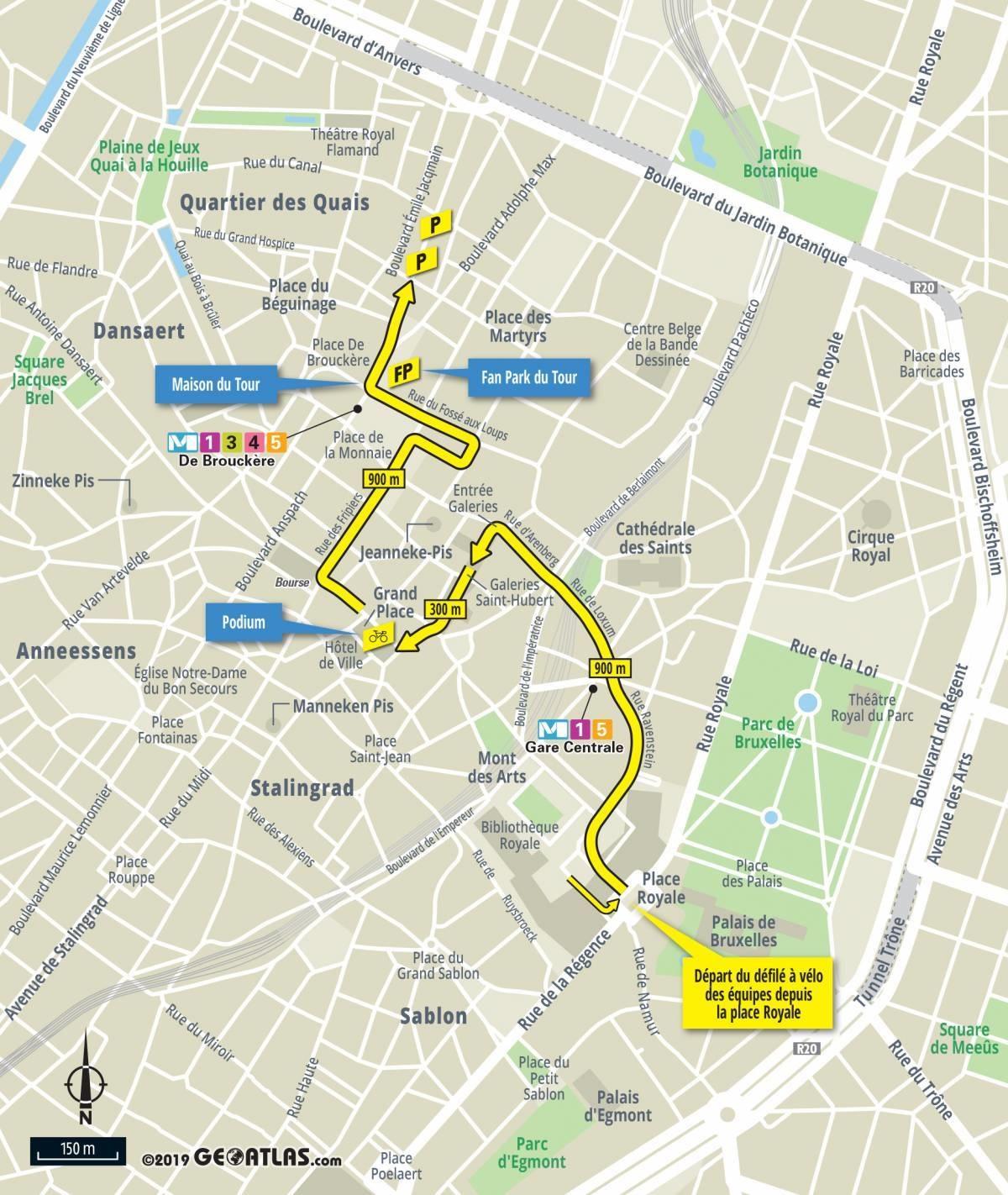 The Tour de France 2019 race route on Open Street Maps