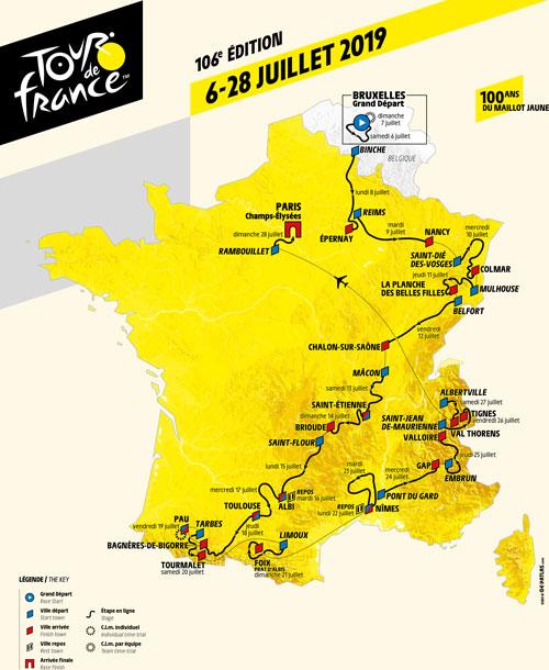 La carte avec le parcours du Tour de France 2019