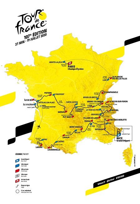 Carte parcours Tour de France 2020