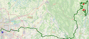 The map with the race route of the fifteenth stage of the Tour de France 2020 on Open Street Maps