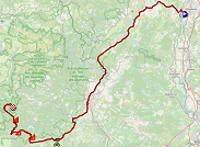 The map with the race route of the sixth stage of the Tour de France 2020 on Open Street Maps