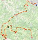 The map with the race route of the nineth stage of the Tour de France 2020 on Open Street Maps