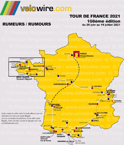 The detailed map of the Tour de France 2021 race route based on rumours
