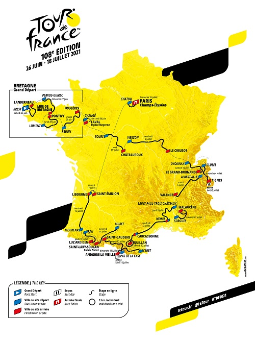 The map with the Tour de France 2021 race route