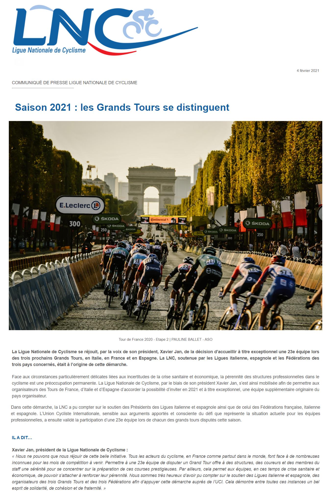Communiqué de la Ligue Nationale de Cyclisme