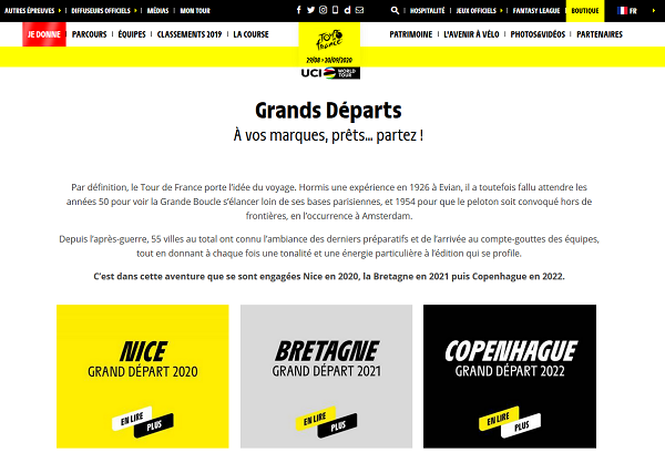 The announcement of the Grand Départ on letour.fr