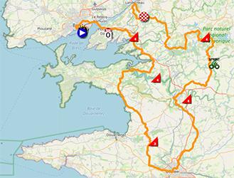 La carte du parcours de la première étape du Tour de France 2021 sur Open Street Maps