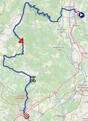 La carte du parcours de la douzième étape du Tour de France 2021 sur Open Street Maps