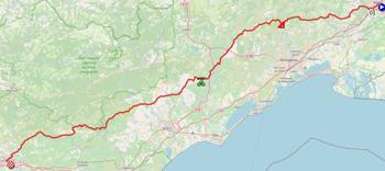 La carte du parcours de la treizième étape du Tour de France 2021 sur Open Street Maps