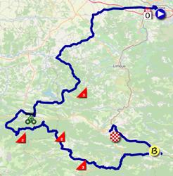 La carte du parcours de la quatorzième étape du Tour de France 2021 sur Open Street Maps