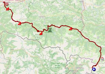 La carte du parcours de la seizième étape du Tour de France 2021 sur Open Street Maps