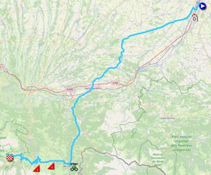 La carte du parcours de la dix-septième étape du Tour de France 2021 sur Open Street Maps