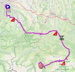 La carte du parcours de la dix-huitième étape du Tour de France 2021 sur Open Street Maps